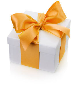 gift box with yellow bow isolated on the white background.