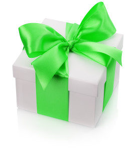 gift box with green bow isolated on the white background.
