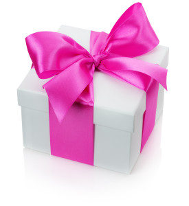 gift box with pink bow isolated on the white background.
